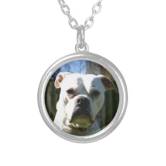 Bulldog Face Silver Plated Necklace