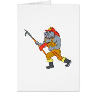 Bulldog Firefighter Pike Pole Fire Axe Drawing Card