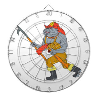Bulldog Firefighter Pike Pole Fire Axe Drawing Dartboard