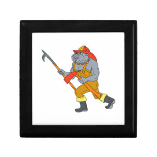 Bulldog Firefighter Pike Pole Fire Axe Drawing Jewelry Boxes
