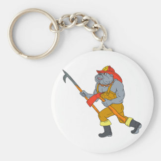 Bulldog Firefighter Pike Pole Fire Axe Drawing Keychain