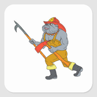 Bulldog Firefighter Pike Pole Fire Axe Drawing Square Sticker