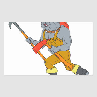 Bulldog Firefighter Pike Pole Fire Axe Drawing Sticker