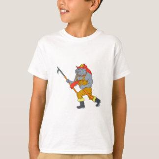 Bulldog Firefighter Pike Pole Fire Axe Drawing T-Shirt