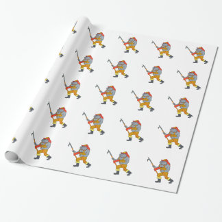 Bulldog Firefighter Pike Pole Fire Axe Drawing Wrapping Paper