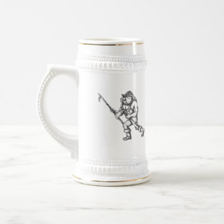 Bulldog Firefighter Pike Pole Fire Axe Tattoo Beer Stein