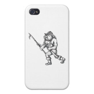 Bulldog Firefighter Pike Pole Fire Axe Tattoo Cover For iPhone 4