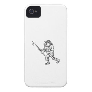 Bulldog Firefighter Pike Pole Fire Axe Tattoo iPhone 4 Cases
