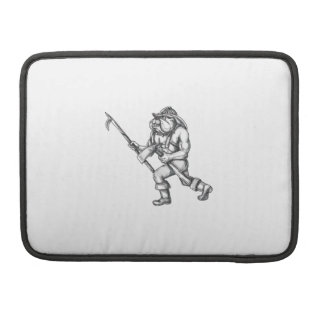 Bulldog Firefighter Pike Pole Fire Axe Tattoo Sleeve For MacBook Pro