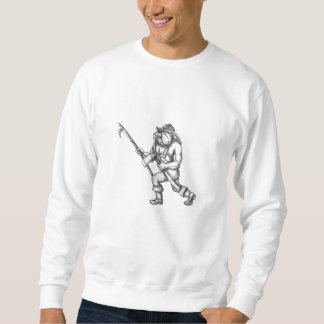 Bulldog Firefighter Pike Pole Fire Axe Tattoo Sweatshirt