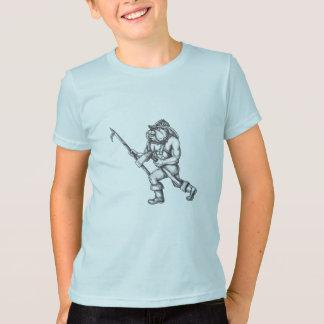 Bulldog Firefighter Pike Pole Fire Axe Tattoo T-Shirt