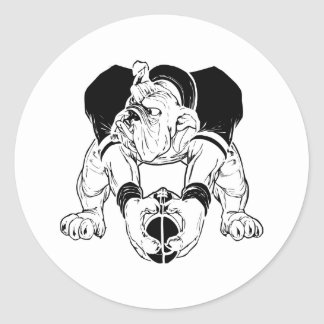 Bulldog Football Classic Round Sticker