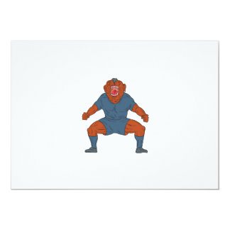 Bulldog Footballer Celebrating Goal Cartoon Card
