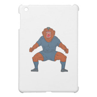 Bulldog Footballer Celebrating Goal Cartoon Case For The iPad Mini