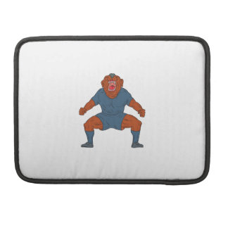 Bulldog Footballer Celebrating Goal Cartoon MacBook Pro Sleeve