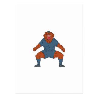 Bulldog Footballer Celebrating Goal Cartoon Postcard