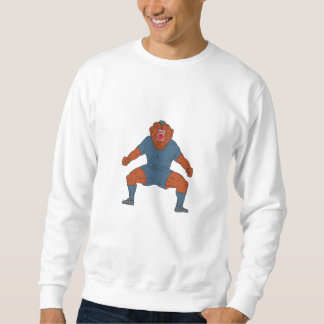 Bulldog Footballer Celebrating Goal Cartoon Sweatshirt