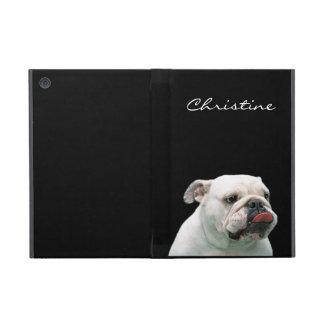Bulldog funny face tongue custom girls name, gift covers for iPad mini