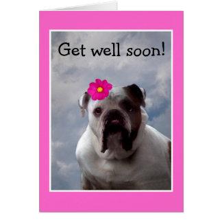 Bulldog Get Well Soon greeting card