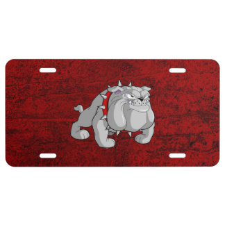 BULLDOG GRAY CARTOON LICENSE PLATE