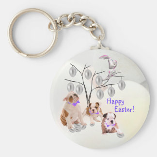 Bulldog Happy Easter Silver Easter Egg Tree Design Basic Round Button Keychain