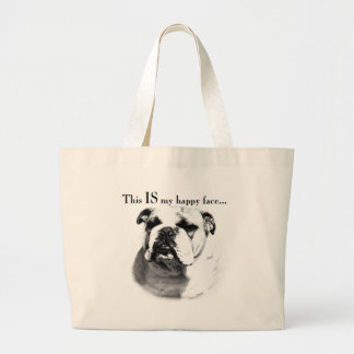 Bulldog Happy Face Large Tote Bag