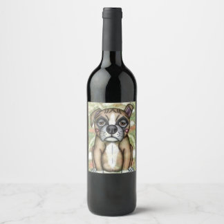 Bulldog Illustration Design Wine Label