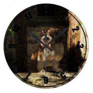 Bulldog in a Doorway Wall Clock