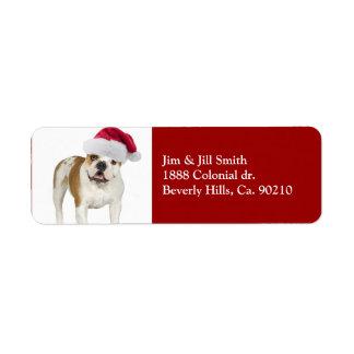 Bulldog In Santa Hat Christmas