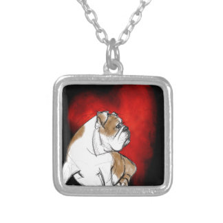 Bulldog Love Silver Plated Necklace