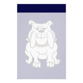Bulldog Mascot on Blue Stationery Design