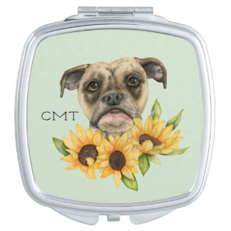 Bulldog Mix with Sunflowers | Add Your Initials Compact Mirrors