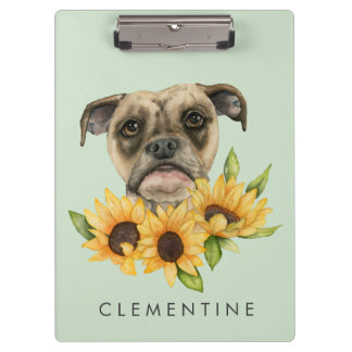 Bulldog Mix with Sunflowers | Add Your Name Clipboard