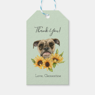 Bulldog Mix with Sunflowers | Add Your Name Gift Tags