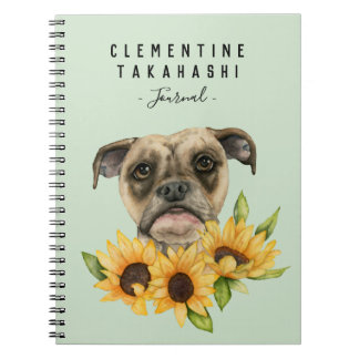 Bulldog Mix with Sunflowers | Add Your Name Notebooks