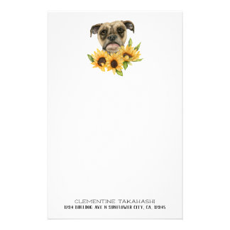 Bulldog Mix with Sunflowers | Add Your Name Stationery