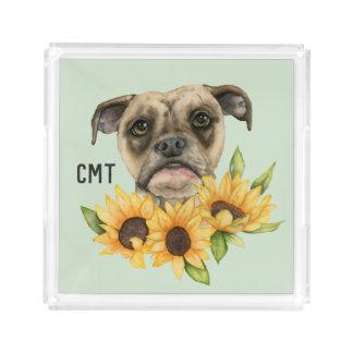 Bulldog Mix with Sunflowers Watercolor   Monogram Acrylic Tray