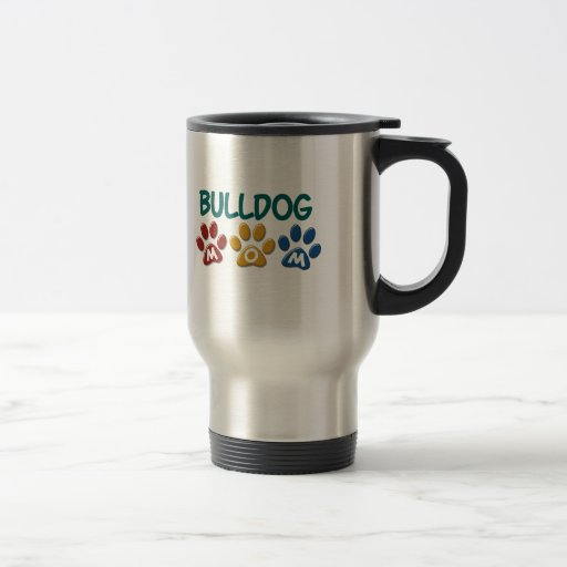 BULLDOG MOM Paw Print 1 Mugs