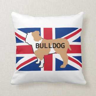 bulldog name silhouette on flag fawn and white throw pillow