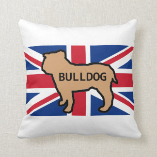 bulldog name silhouette on flag fawn throw pillow