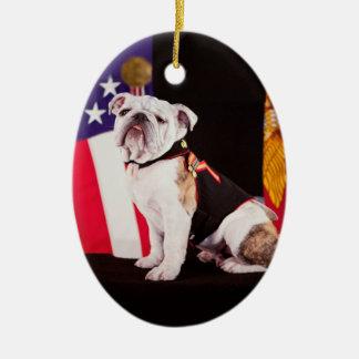 Bulldog Navy Official Mascot Dog Ceramic Ornament