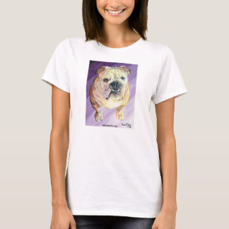 Bulldog Oil Portrait White Ladies Fitted T-Shirt