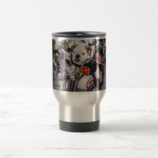 Bulldog on Motorcycle Coffee Mugs
