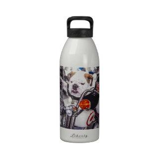 Bulldog on Motorcycle Drinking Bottles