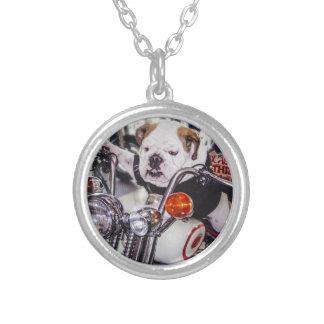 Bulldog on Motorcycle Round Pendant Necklace