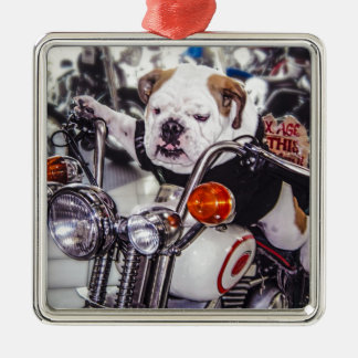 Bulldog on Motorcycle Silver-Colored Square Ornament
