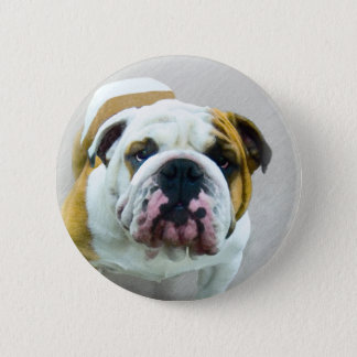 Bulldog Painting - Cute Original Dog Art 2 Inch Round Button