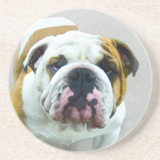 Bulldog Painting - Cute Original Dog Art Coaster