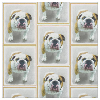 Bulldog Painting - Cute Original Dog Art Fabric