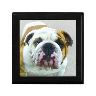 Bulldog Painting - Cute Original Dog Art Gift Box